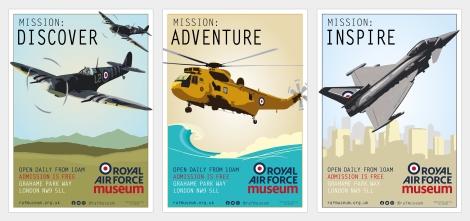 RAF Museum poster designs - Spitfire, SeaKing Helicopter and Typhoon Fighter